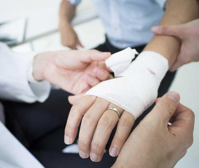 Injured hand of an individual